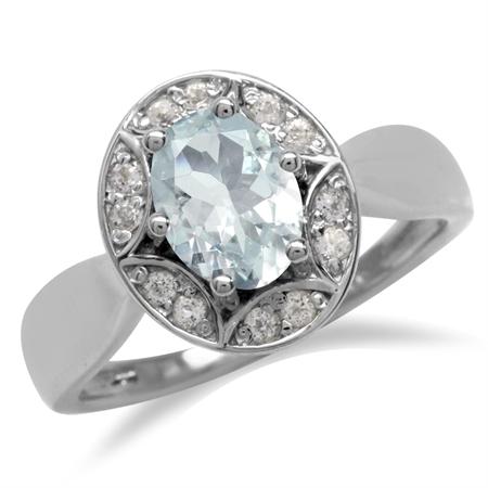 Genuine Blue Aquamarine & White Topaz 925 Sterling Silver Sun Ray Inspired Filigree Ring