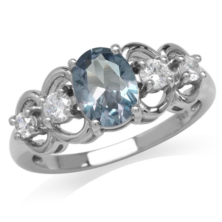 Simulated Color Change Alexandrite 925 Sterling Silver Filigree Ring