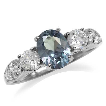 Simulated Color Change Alexandrite White Gold Plated 925 Sterling Silver Engagement Ring