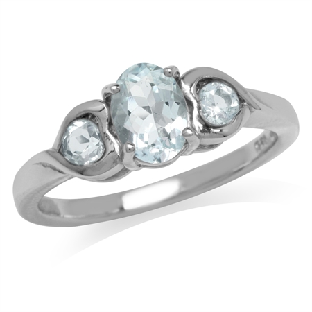 3-Stone Genuine Blue Aquamarine White Gold Plated 925 Sterling Silver Engagement Heart Ring