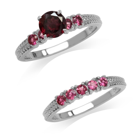 1.06ct. Rhodolite Garnet & Pink Tourmaline 925 Sterling Silver 2-Pc Set Stack/Stackable Ring