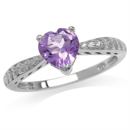 1.01ct. Natural Heart Shape Amethyst White Gold Plated 925 Sterling Silver Engagement Ring
