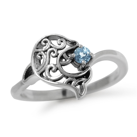 Genuine Blue Topaz 925 Sterling Silver Dolphin Filigree Solitaire Ring