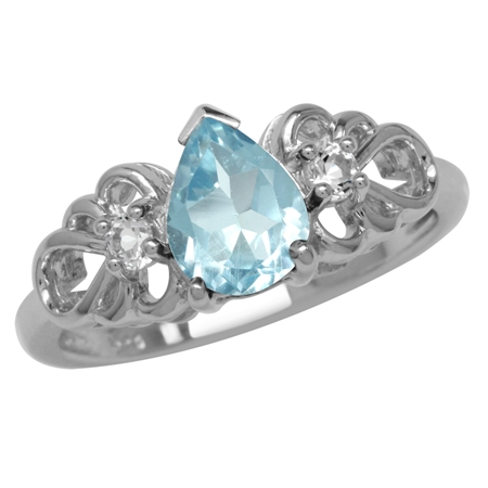 1.38ct. Genuine Blue Topaz White Gold Plated 925 Sterling Silver Filigree Ring