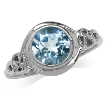 2.41ct. Genuine Blue Topaz White Gold Plated 925 Sterling Silver Celtic Knot Solitaire Ring