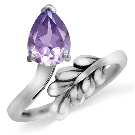 Natural Amethyst White Gold Plated 925 Sterling Silver Bypass Leaf Adjustable Ring
