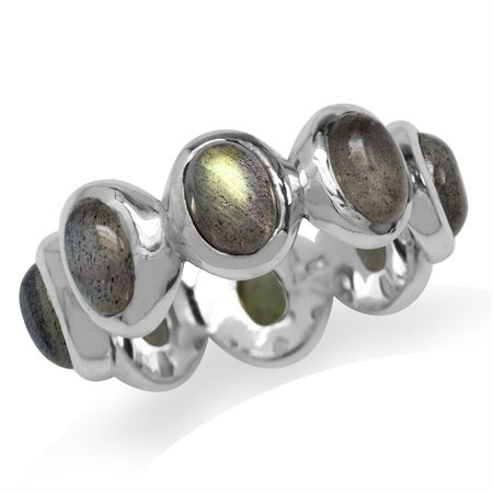 Labradorite 925 Sterling Silver Fashion Eternity Ring