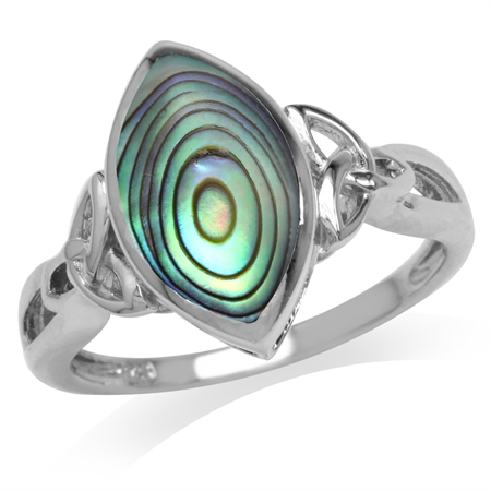Abalone/Paua Shell White Gold Plated 925 Sterling Silver Triquetra Celtic Knot Ring
