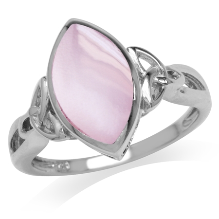 Pink Mother of Pearl White Gold Plated 925 Sterling Silver Triquetra Celtic Knot Solitaire Ring