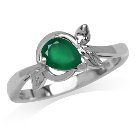 Natural Emerald Green Agate White Gold Plated 925 Sterling Silver Leaf Ring