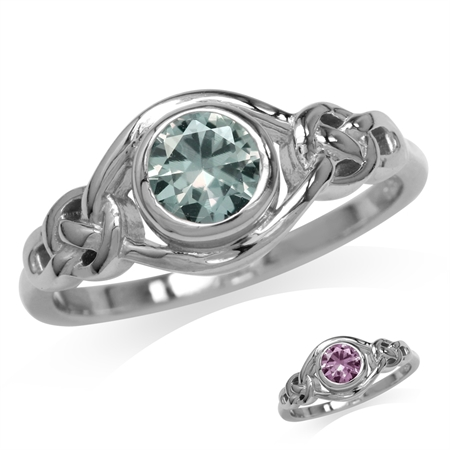 Simulated Color Change Alexandrite White Gold Plated 925 Sterling Silver Celtic Knot Ring