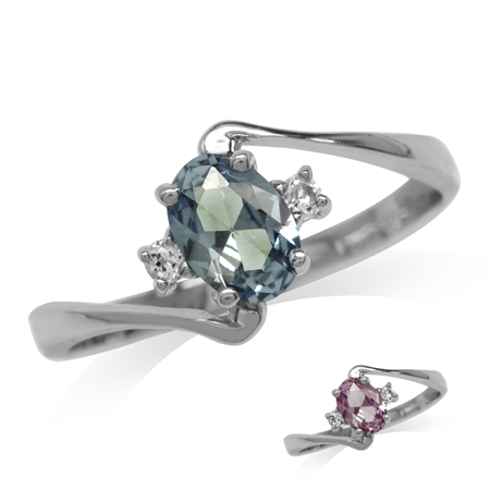 Simulated Color Change Alexandrite & White Topaz Gold Plated 925 Sterling Silver Engagement Ring