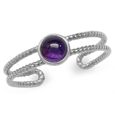 Cabochon Amethyst White Gold Plated 925 Sterling Silver Rope Solitaire Adjustable Ring