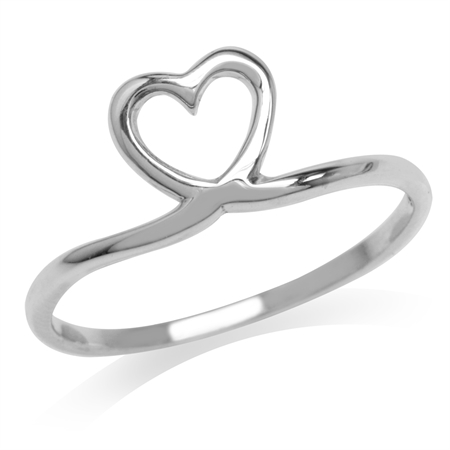 White Gold Plated 925 Sterling Silver Heart Casual Love Ring
