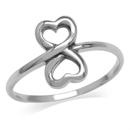 White Gold Plated 925 Sterling Silver Twin Heart Casual Love Ring