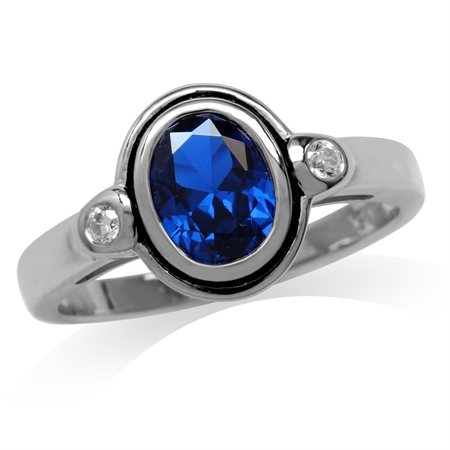 Synthetic Sapphire Blue & White CZ Gold Plated 925 Sterling Silver Ring