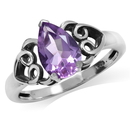 1.12ct. Natural Amethyst 925 Sterling Silver Filigree Heart Ring