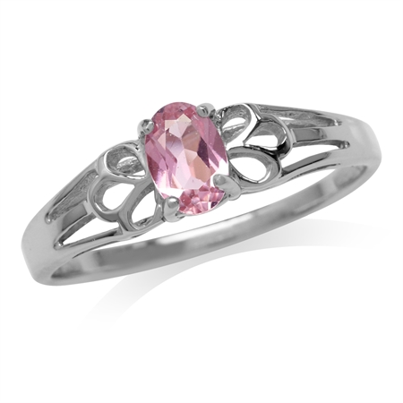 Petite Natural Pink Tourmaline White Gold Plated 925 Sterling Silver Filigree Solitaire Promise Ring
