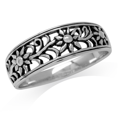 925 Sterling Silver Scroll/Filigree Flower Vintage Style Ring