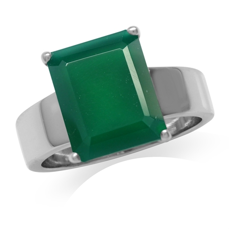 HUGE 5.63ct. Natural Emerald Green Agate White Gold Plated 925 Sterling Silver Solitaire Ring