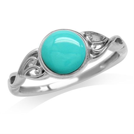 Created Green Turquoise White Gold Plated 925 Sterling Silver Victorian Style Solitaire Ring