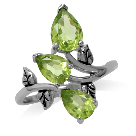 2.76ct. 3-Stone Natural Peridot 925 Sterling Silver Bypass Leaf Ring