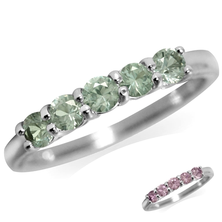 5-Stone Simulated Color Change Alexandrite White Gold Plated 925 Sterling Silver Stackable Ring