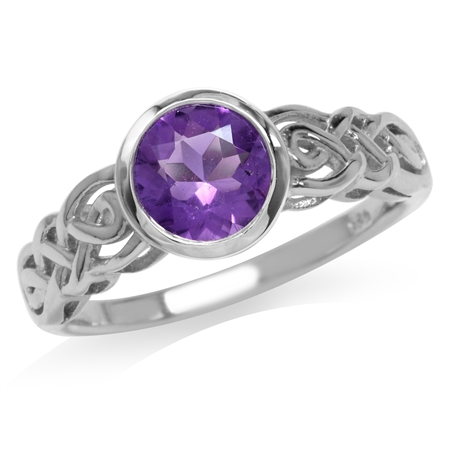 1.19ct. 7MM Natural Round Shape African Amethyst 925 Sterling Silver Celtic Knot Solitaire Ring