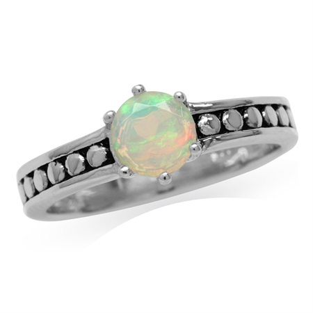 Genuine Opal 925 Sterling Silver Bali/Balinese Style Solitaire Ring