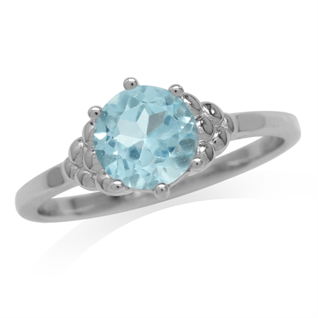 1.61ct. Genuine Blue Topaz White Gold Plated 925 Sterling Silver Engagement Ring