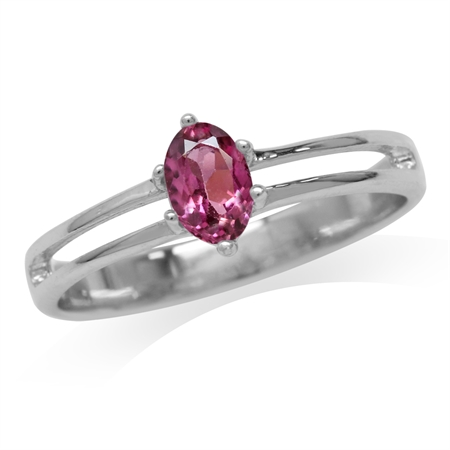 Petite Natural Pink Tourmaline White Gold Plated 925 Sterling Silver Promise Ring