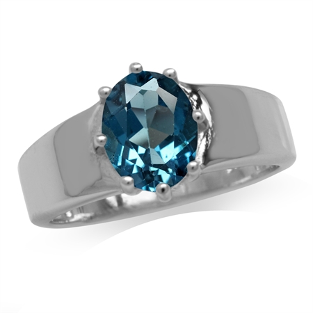 2.28ct. Genuine London Blue Topaz White Gold Plated 925 Sterling Silver Solitaire Ring