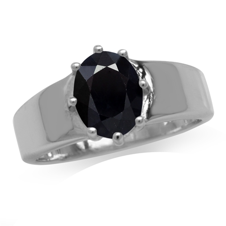 2.49ct. Natural Black Sapphire White Gold Plated 925 Sterling Silver Solitaire Ring