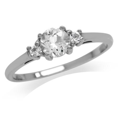 Petite Genuine White Topaz 925 Sterling Silver Promise Ring