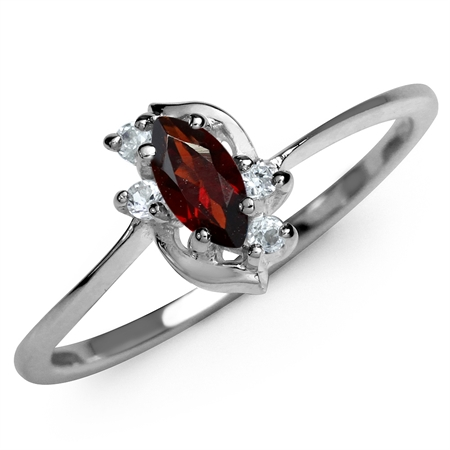Natural Garnet & White CZ Gold Plated 925 Sterling Silver Ring