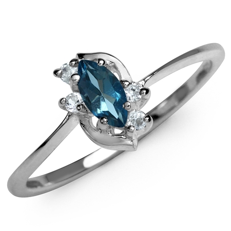 Genuine London Blue Topaz & White CZ Gold Plated 925 Sterling Silver Ring