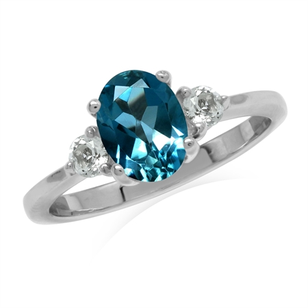 1.5ct. 8x6MM Genuine Oval Shape London Blue Topaz 925 Sterling Silver Engagement Ring