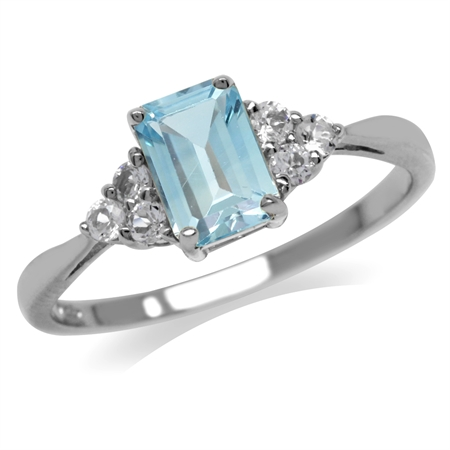 1.2ct. Genuine Blue Topaz & White CZ 925 Sterling Silver Engagement Ring