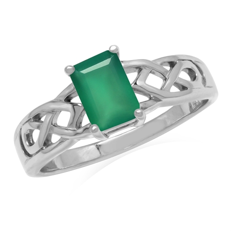 7x5MM Natural Octagon Shape Emerald Green Agate 925 Sterling Silver Celtic Knot Solitaire Ring