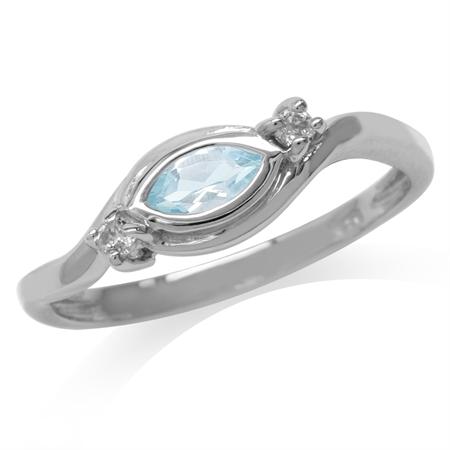 Genuine Blue Topaz 925 Sterling Silver Modern Ring