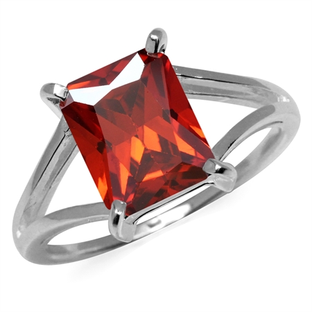 Octagon Shape Garnet Red CZ 925 Sterling Silver Solitaire Ring
