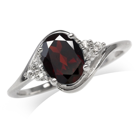 1.45ct. Natural Garnet 925 Sterling Silver Engagement Ring