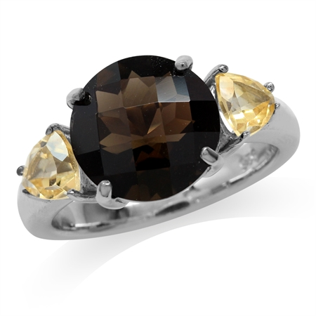 4ct. Natural Round Shape Smoky Quartz & Citrine 925 Sterling Silver Cocktail Ring
