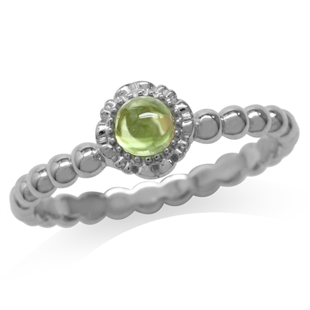 Cabochon Peridot White Gold Plated 925 Sterling Silver Flower Stack/Stackable Ring
