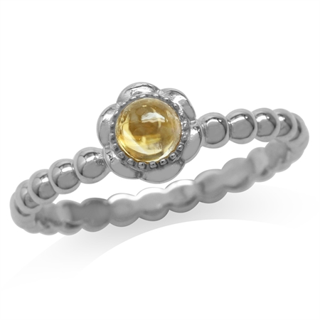 Cabochon Citrine White Gold Plated 925 Sterling Silver Filigree Flower Stack/Stackable Ring