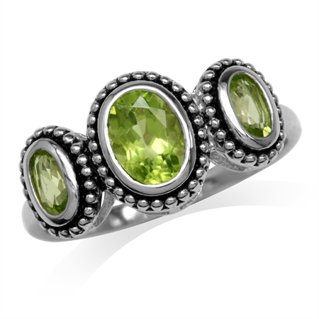 3-Stone Natural Oval Shape Peridot 925 Sterling Silver Bali/Balinese Style Ring