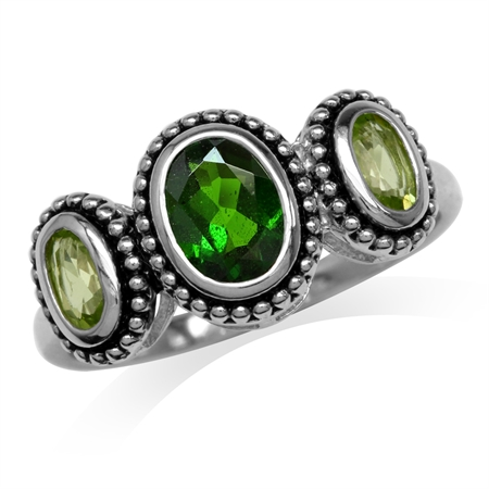 Oval Shape Green Chrome Diopside & Peridot 925 Sterling Silver Bali/Balinese Style Ring