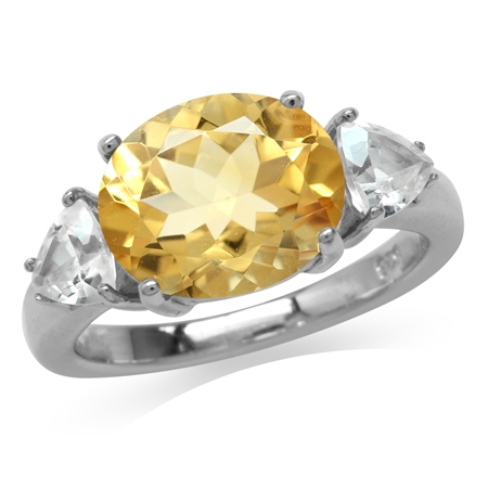 3.97ct. Natural Oval Shape Citrine & White Topaz Gold Plated 925 Sterling Silver Cocktail Ring