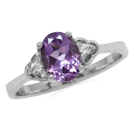 1.16ct. Natural Amethyst White Gold Plated 925 Sterling Silver Engagement Ring