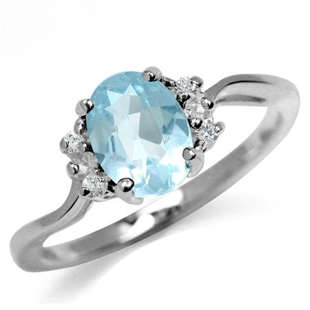 1.52ct. Genuine Blue Topaz White Gold Plated 925 Sterling Silver Engagement Ring
